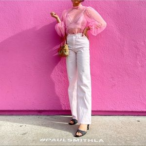 Sheer pink blouse with puff sleeves